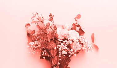 Bouquet on pink background