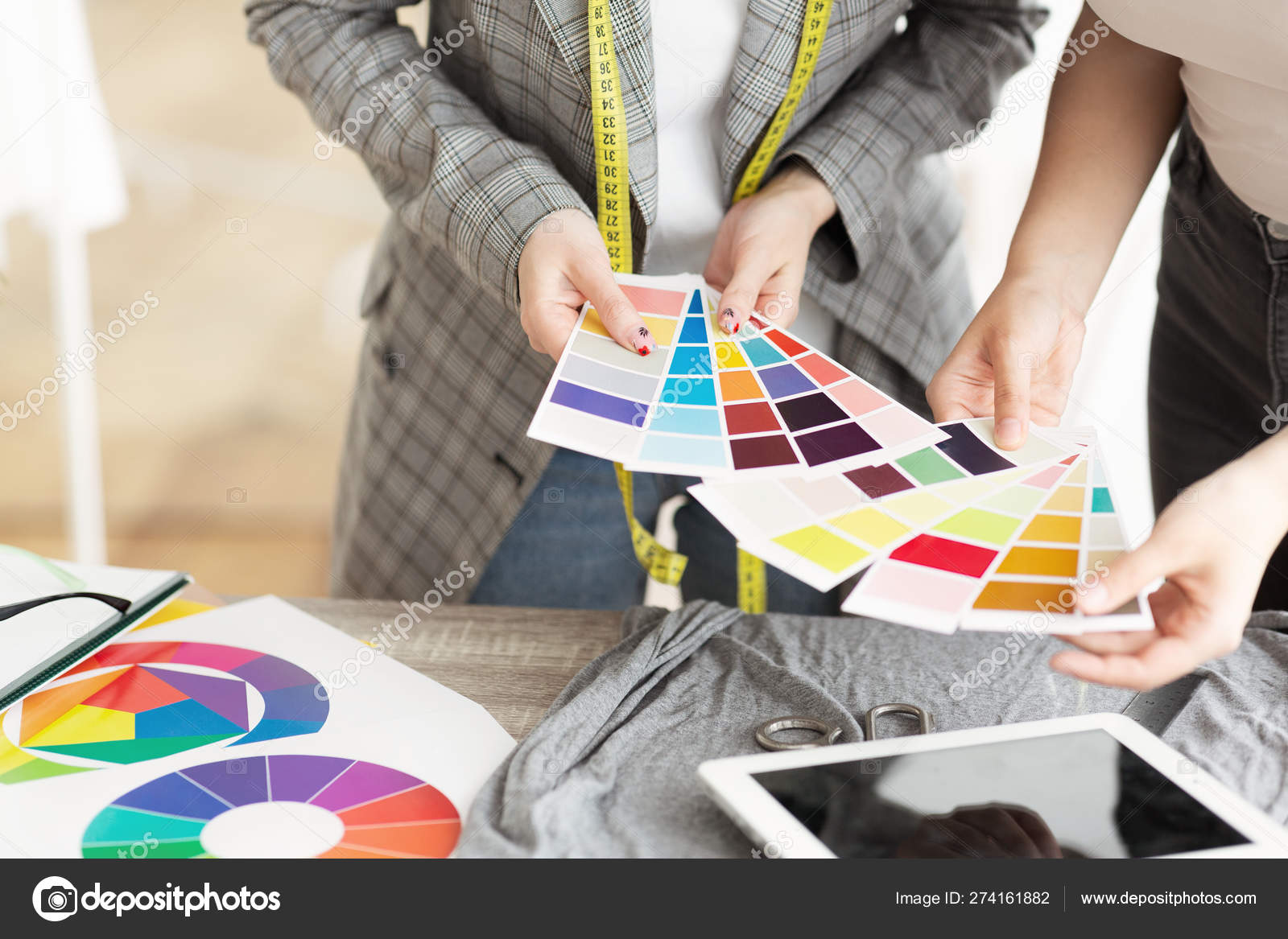 Fashion Designer Discuss Color Of New Clothing With Client Stock Photo C Milkos 274161882
