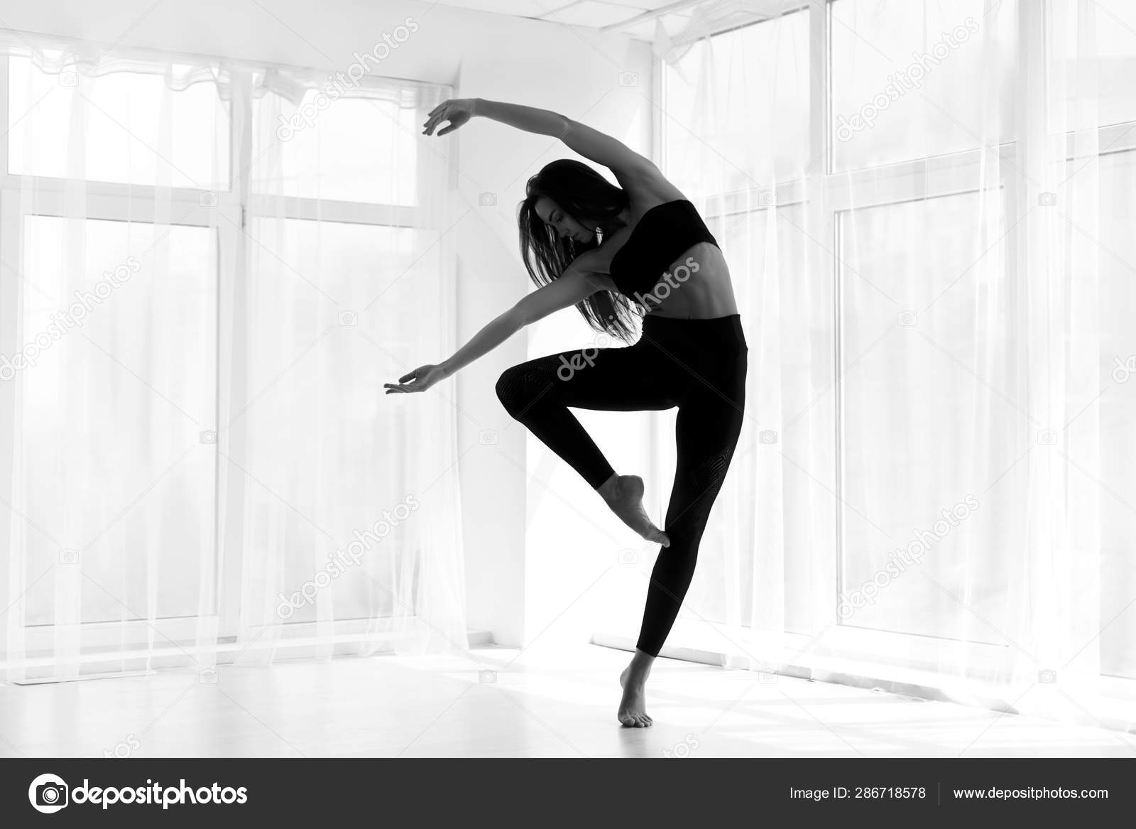 Dancer Training Modern Ballet In Studio Black And White Stock Photo C Milkos 286718578