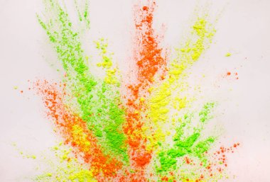 Holi festival. Abstract colorgul powder explosion on white background, copy space stock vector