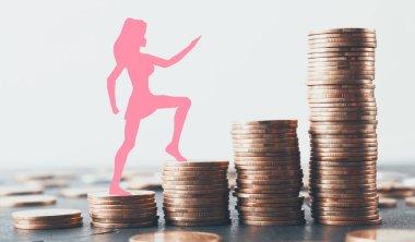 Pink woman figure walking up on golden coin ladder
