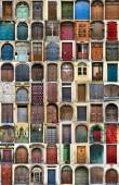 Set aus vielen verschiedenen altmodischen Haustüren, Collage