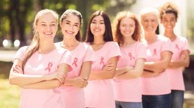 Breast Cancer Volunteers Women Standing Smiling To Camera Posing In Park. Panorama, Shallow Depth stock vector