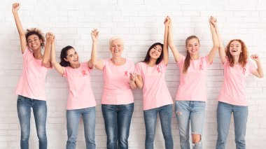 Breast Cancer Support Group. Women In Pink T-Shirts With Ribbons Holding Raised Hands Celebrating Successful Treatment Over White Wall. Panorama stock vector