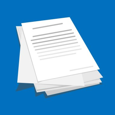 Stack or Pile Of Business Documents Over Blue Background, Vector Illustration, Creative Design In Flat Style icon