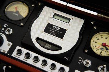 antique radio in box on background
