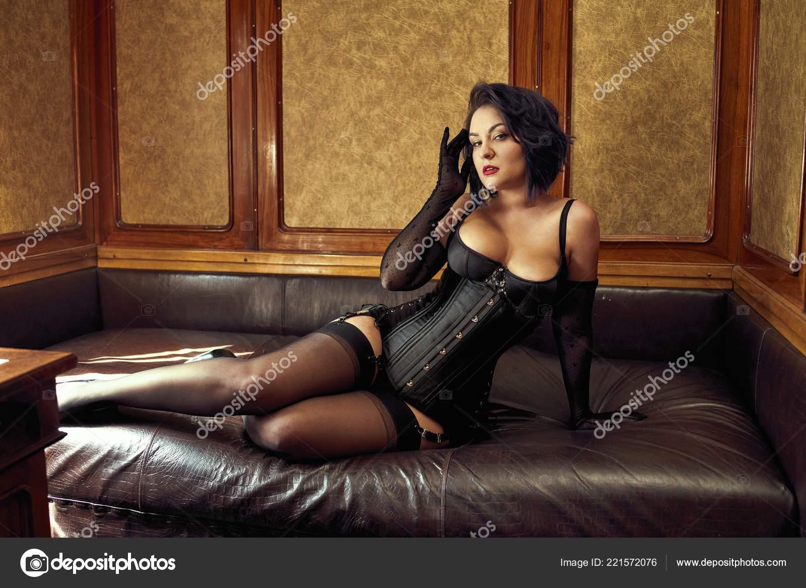 Beautiful Sexy Woman Black Lingerie Stockings Posing Indoor Stock Photo Image By C Smmartynenko 221572076