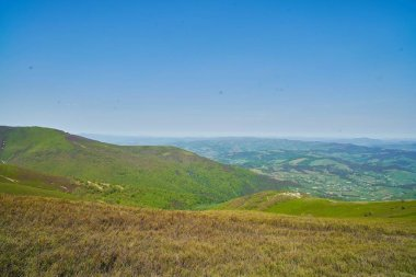 Mountain peak range landscape. Green mountain range view.