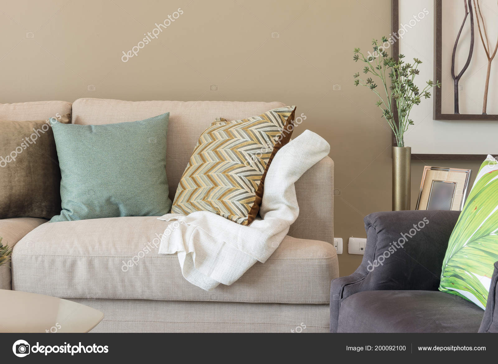 Cozy Living Room Set Pillows Modern Sofa Interior Decoration Design Stock Photo C Khongkitwiriyachan 200092100