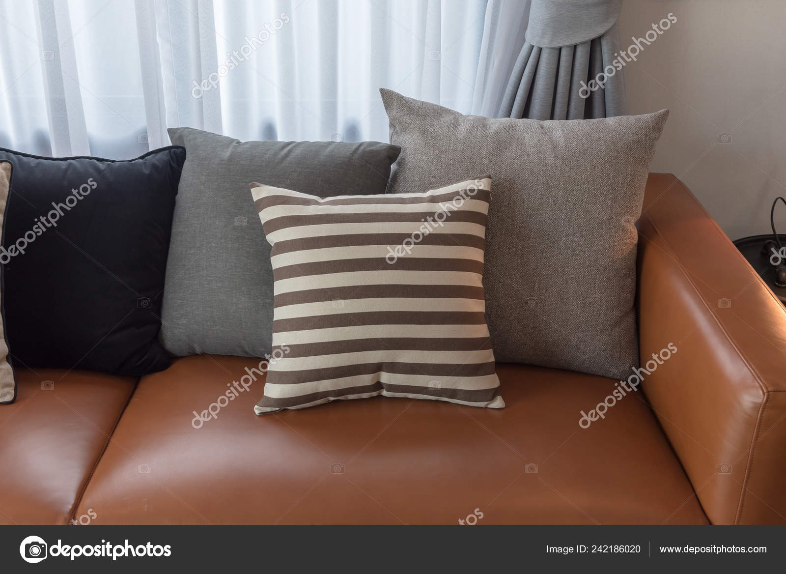 Modern Living Room Set Pillows Brown Sofa Interior Decoration Design Stock Photo C Khongkitwiriyachan 242186020