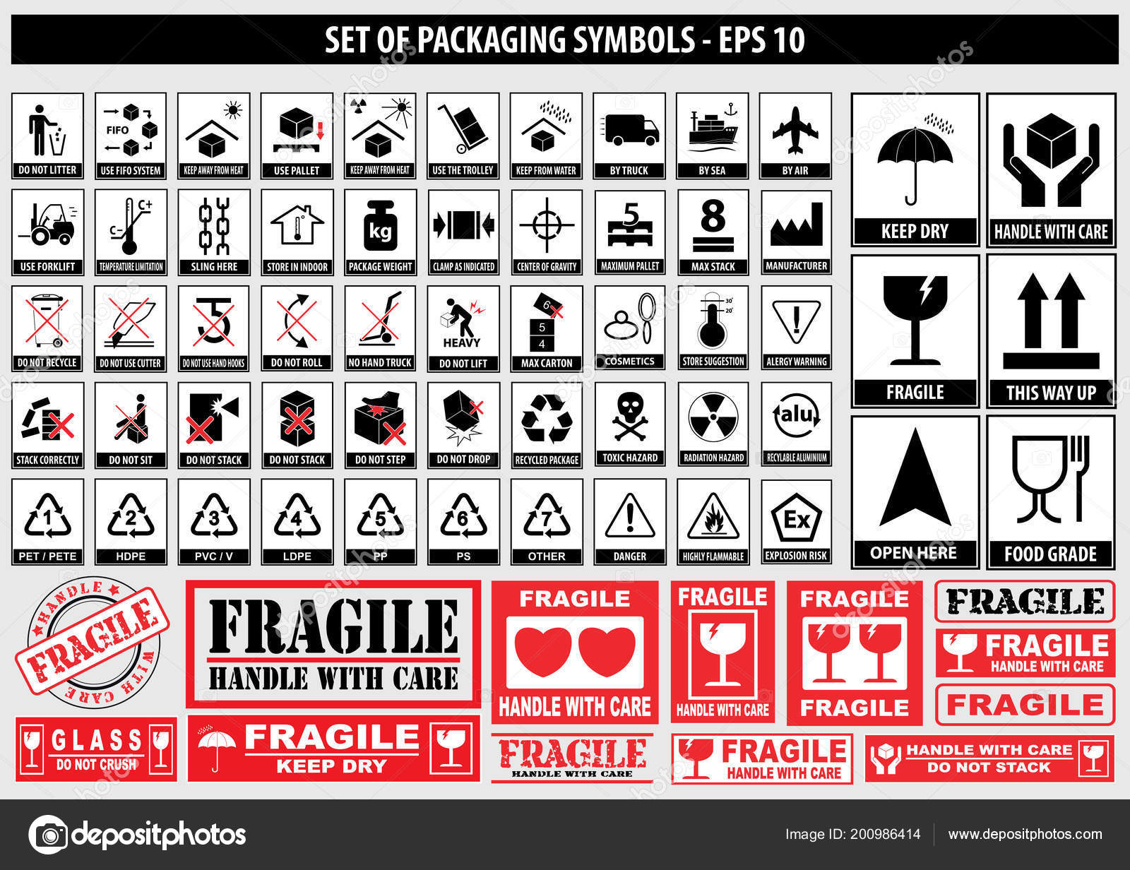 Set Packaging Symbols Side Handle Care Fragile Keep Dry Keep Stock