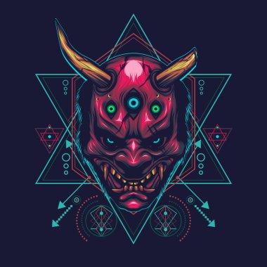 devil mask with three eyes illustration