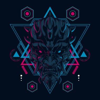Japanese Devil mask illustration in sacred geometry style