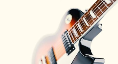 Close up shot of a guitar, isolated on white.