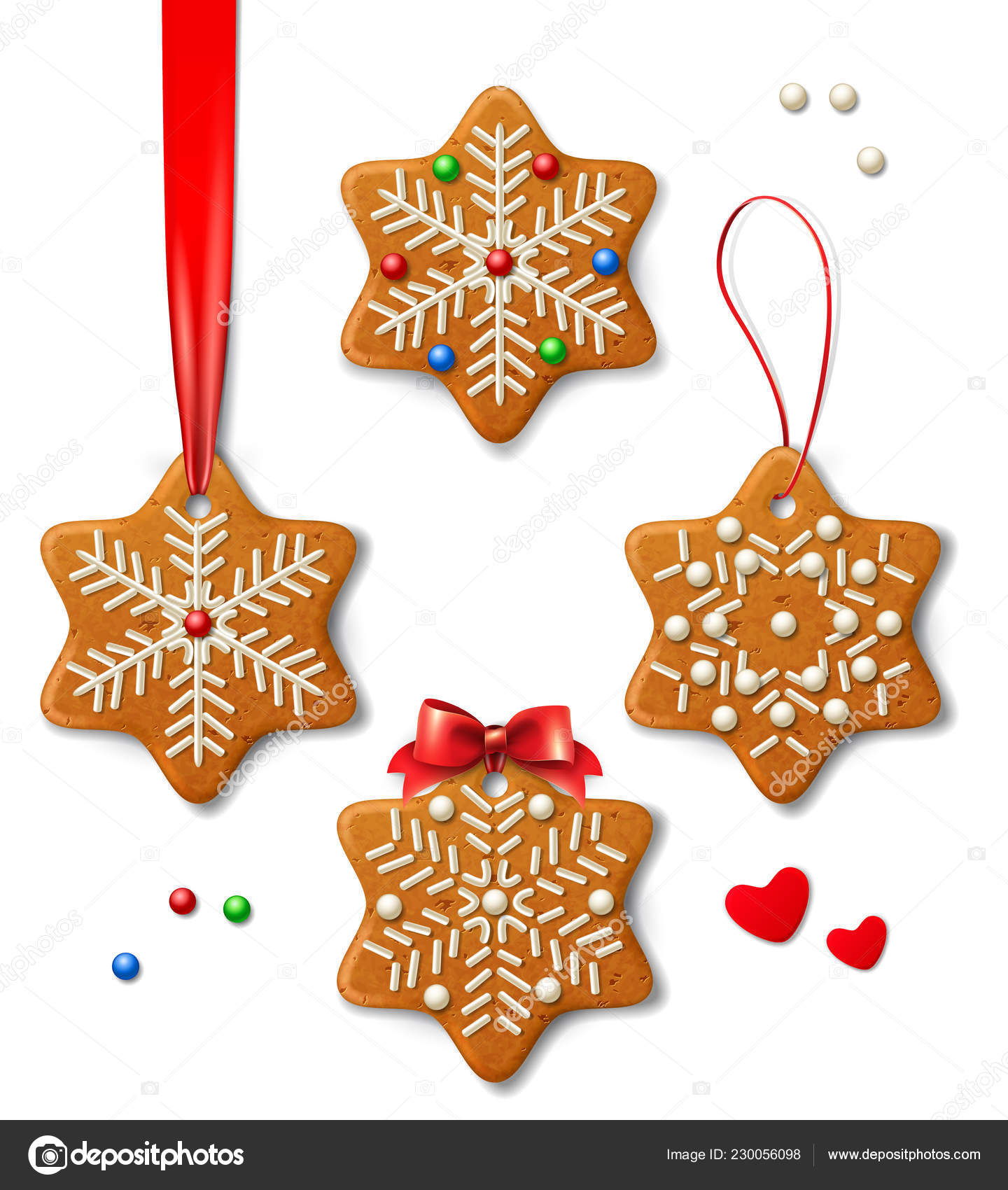 Set Vector Christmas Decorations Vector Gingerbread Snowflakes