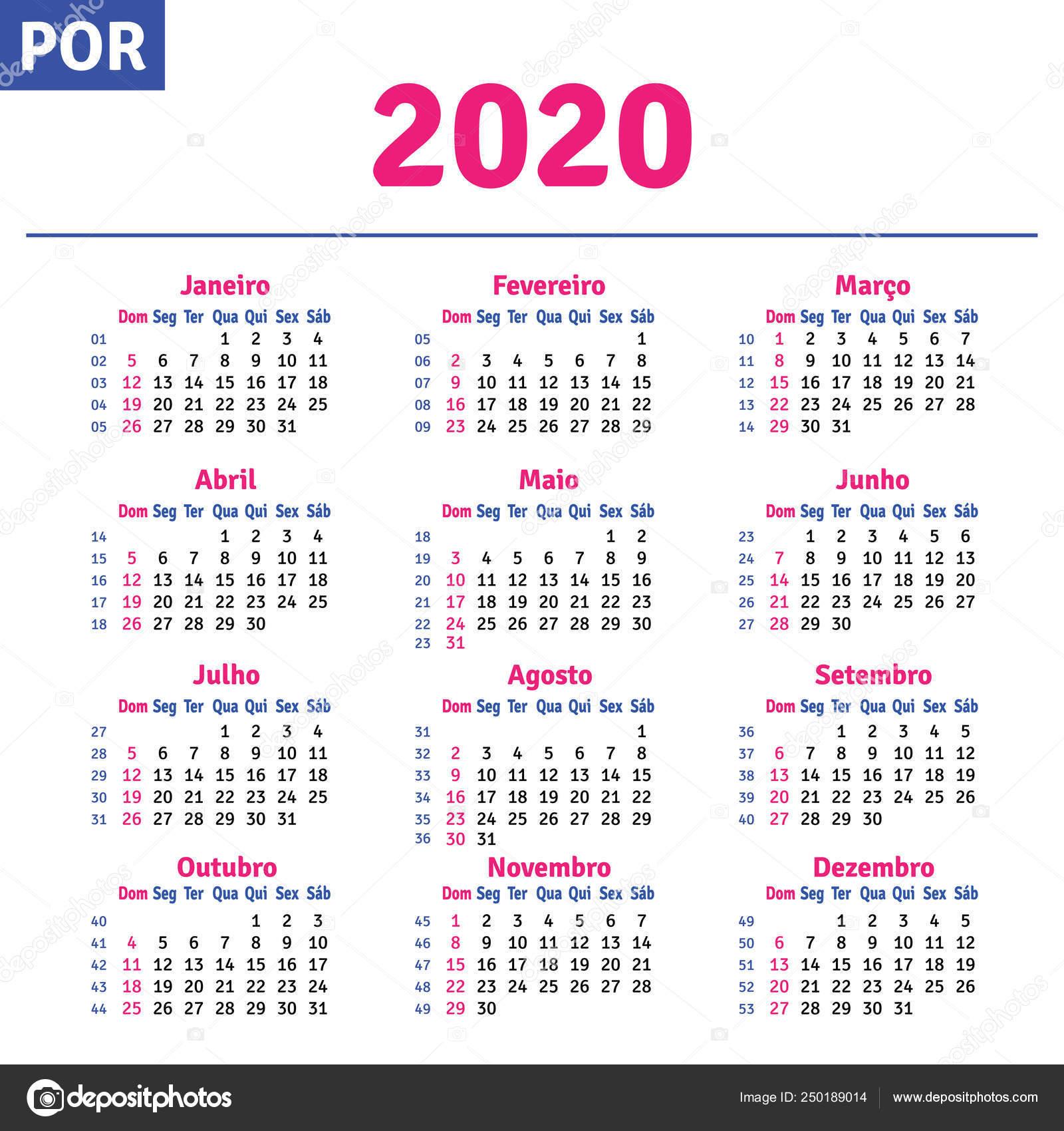 Calendario 2020 Portugal Com Feriados.Portugues Brasileiro Calendar 2020 Vetor De Stock
