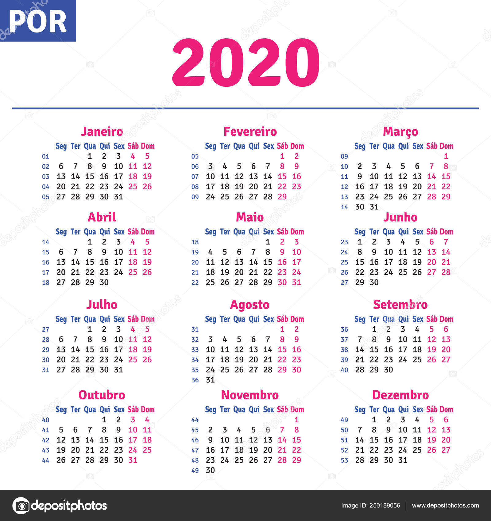Calendario 2020 Brasileiro Com Feriados.Portugues Brasileiro Calendar 2020 Vetor De Stock