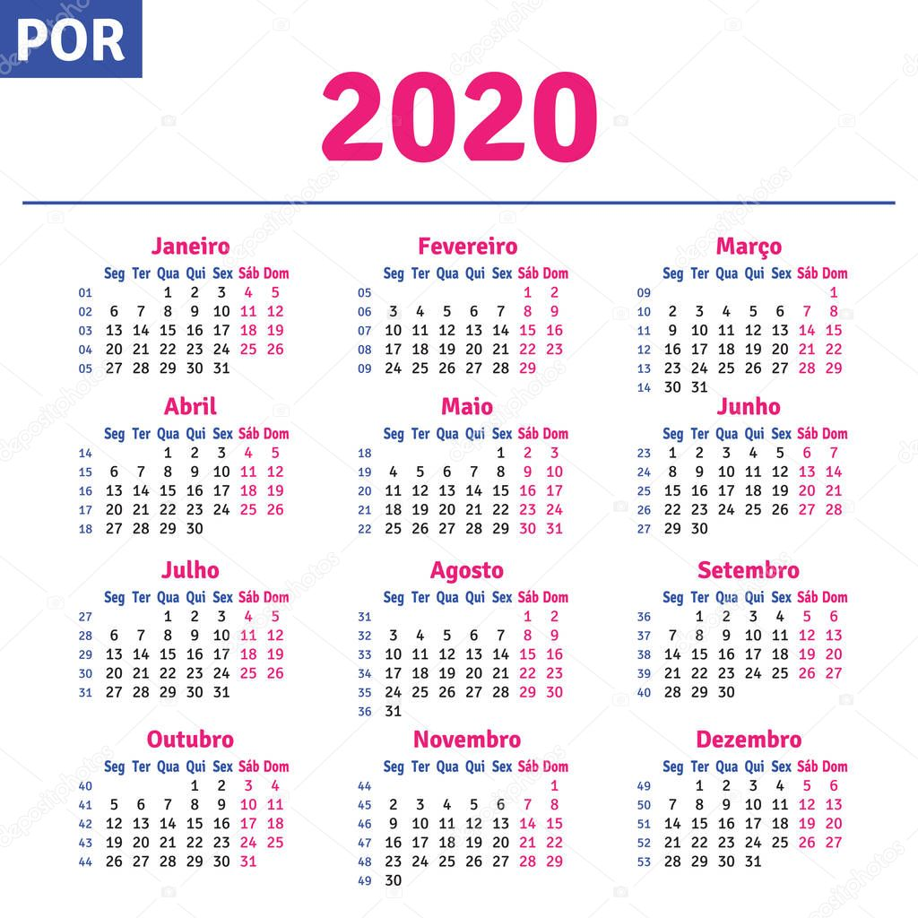 Calendario 2020 Com Feriados Portugal.Portugues Brasileiro Calendar 2020 Vetor De Stock