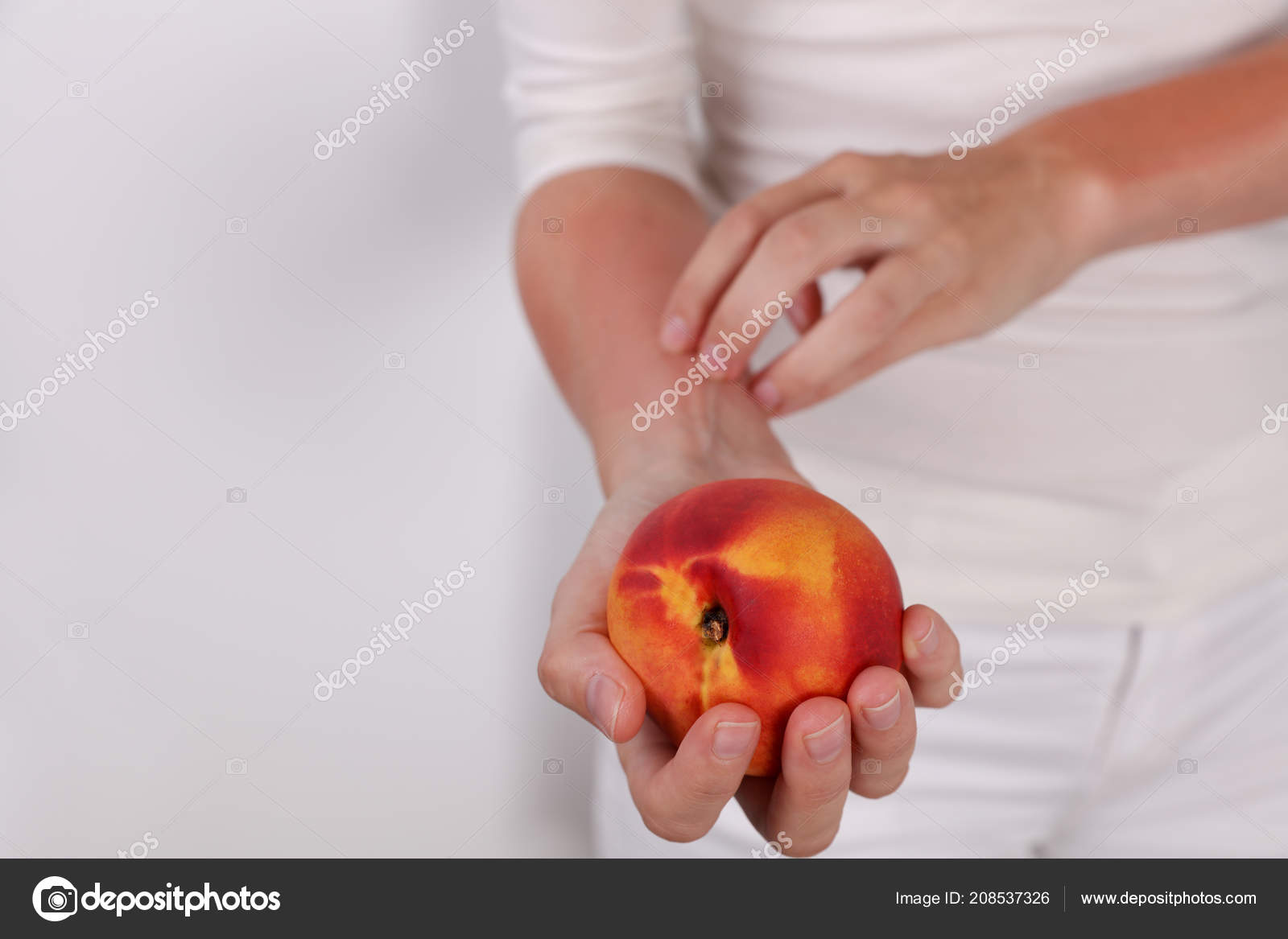 Woman Suffering Fruit Allergy Holding Peach Oas Food Allergy