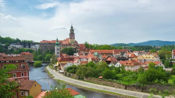 Time Lapse of Cesky Krumlov city skyline in Cesky Krumlov, Czech Republic timelapse 4K