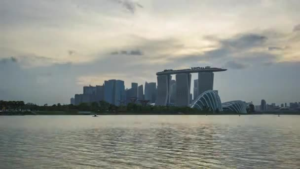 Timelapse of Singapore city skyline view from Marina Barrage in Singapore city, Singapore