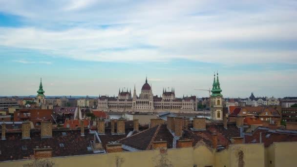 TimeLapse Budapest városára néző Országház a budapesti city, Magyarország, idő telik el, 4k