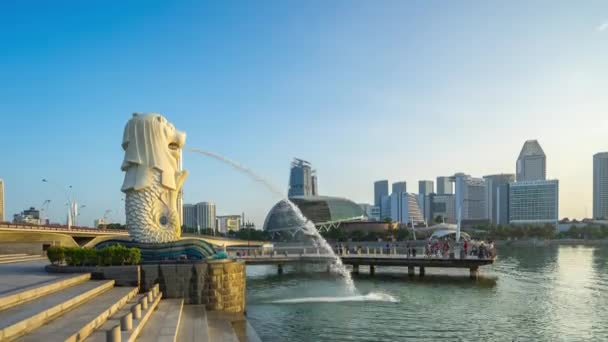 Time Lapse video of Merlion Park in Singapore city, Singapore