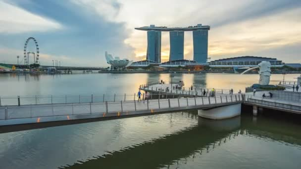 Time lapse video of Singapore Merlion Park in Singapore city