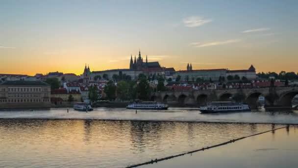Prague city Panorama den do noci časová prodleva starého města pražského v České republice