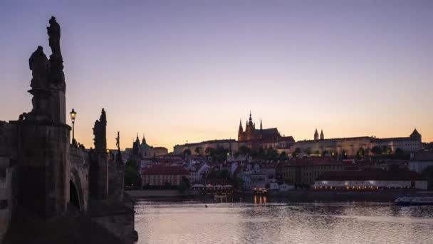 Prague city Panorama den do noci časová prodleva v České republice timelapse