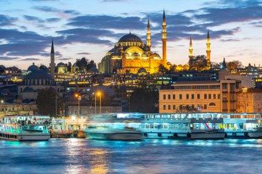Istanbul içi, Türkiye Istanbul cityscape manzarası, gece