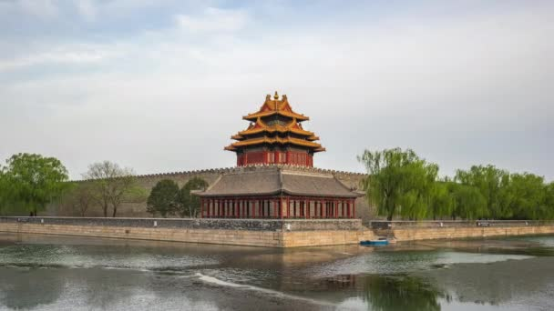 Timelapse of Corner Tower of Forbidden city in Beijing, China time lapse