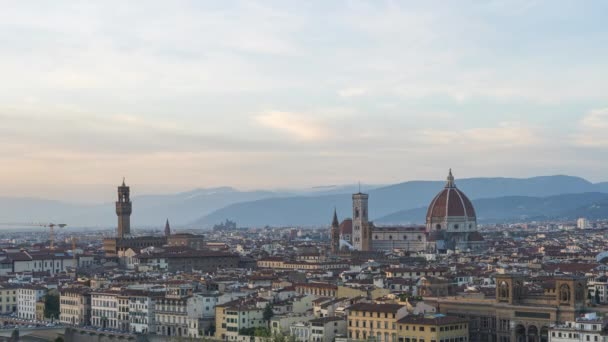 Time lapse of Florence city skyline with view of Duomo in Tuscany, Italy.