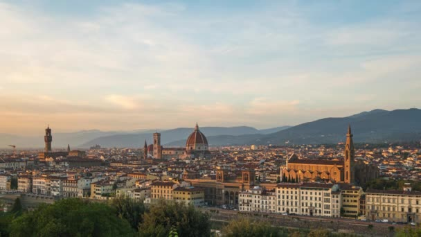 Florence cityscape skyline with sunset in Tuscany, Italy.