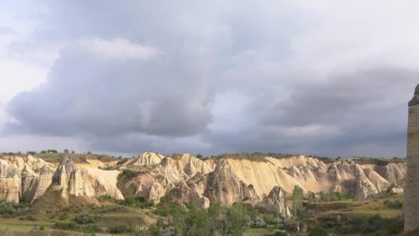 4K footage. Wide panorama love valley. Handheld camera