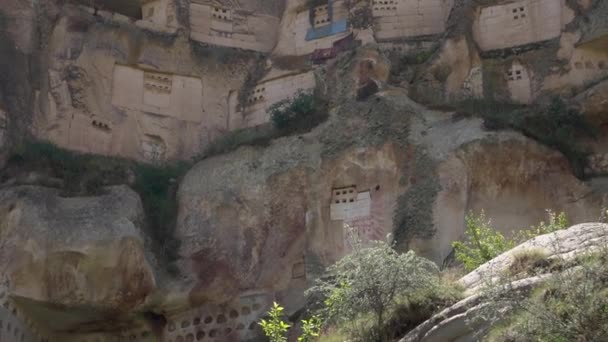 HD fooage. Doves houses in rocks. Close up. Handheld camera
