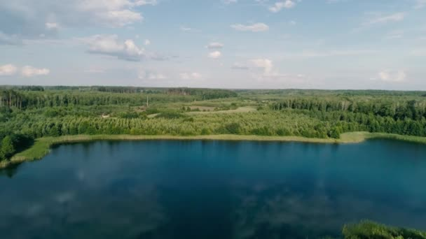 Aerial drone footage. Fly over lake around forest