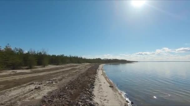 Drone racing view. Fly over coast line. Dynamic shot