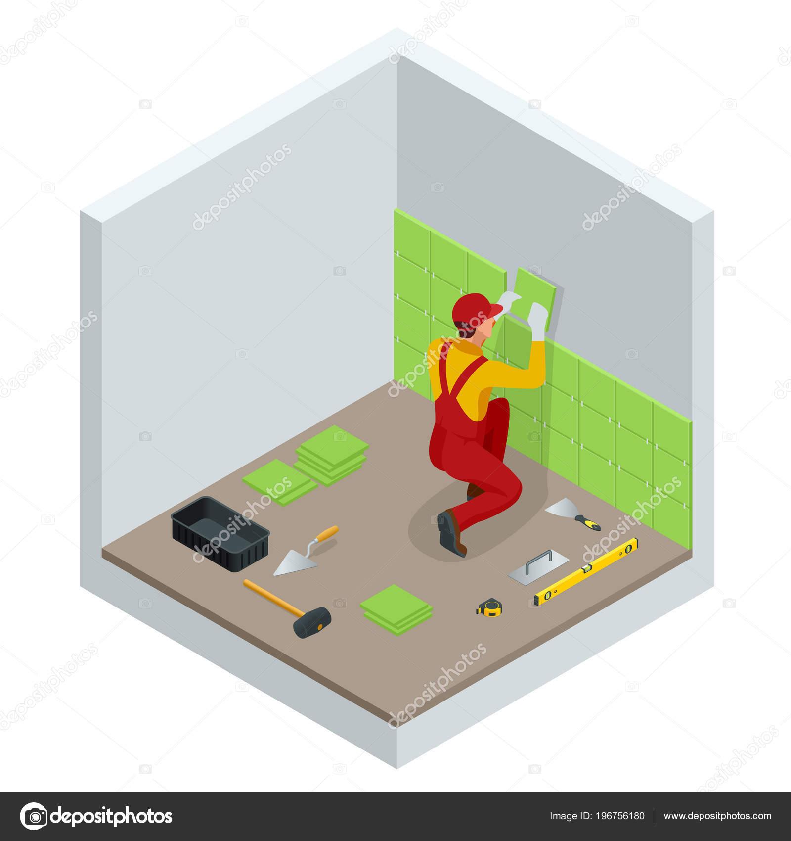 Het leggen van tegels thuis. Werknemer installeren van kleine ...