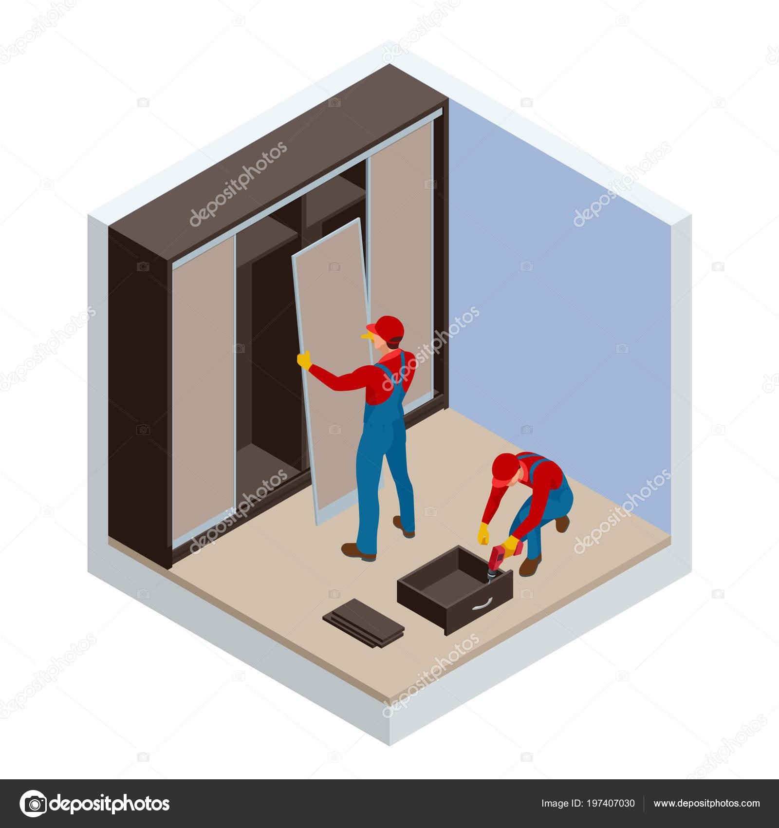 Isometrische Zwei Schreiner Arbeiter Gemeinsame Und Heimat