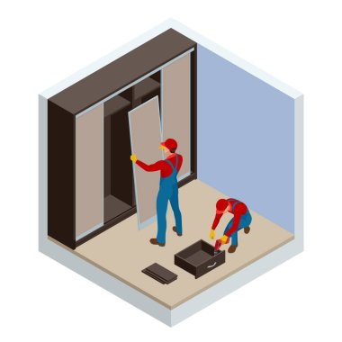 Isometric two carpenters workers joint and settle home built-in cupboard. Installation of white corner sliding wardrobe vector illustration