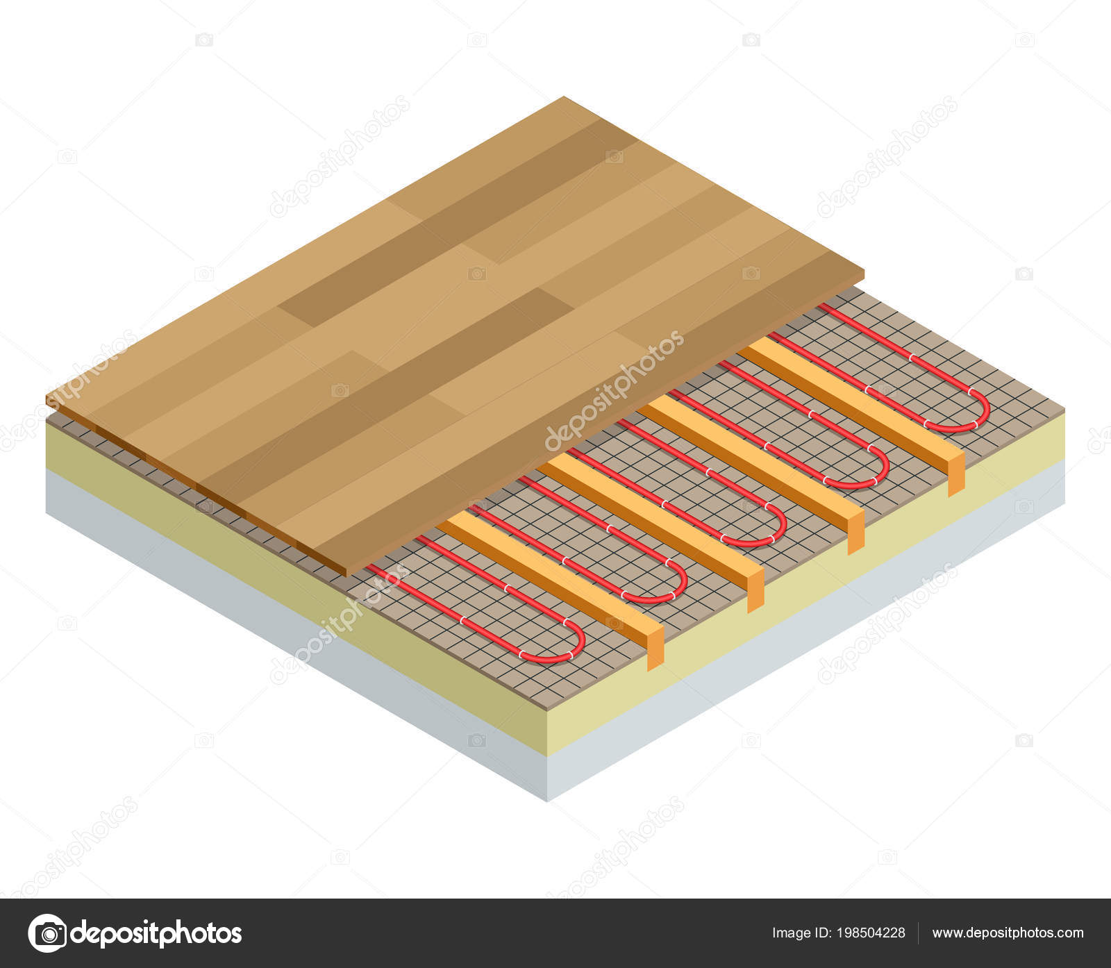 Isometric Layers Of Infrared Floor Heating System Under Laminate Concept Underfloor Vector Ilration