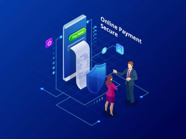 Isometric online payment online concept. Internet payments, protection money transfer, online bank vector illustration.