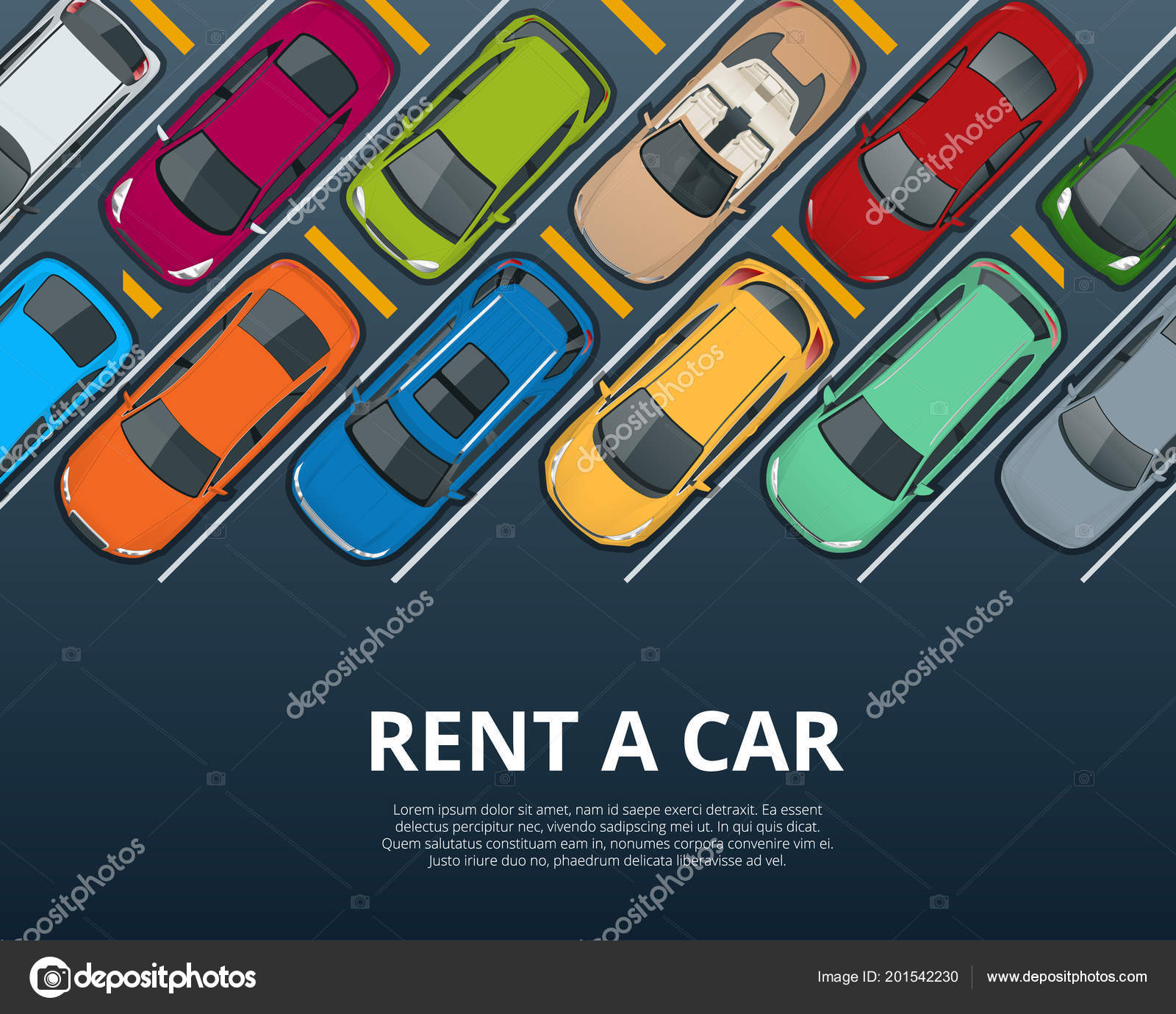 Renting A New Or Used Car Car Rental Booking Reservation Banner Vector Illustration Background Stock Vector C Galaktika New 201542230