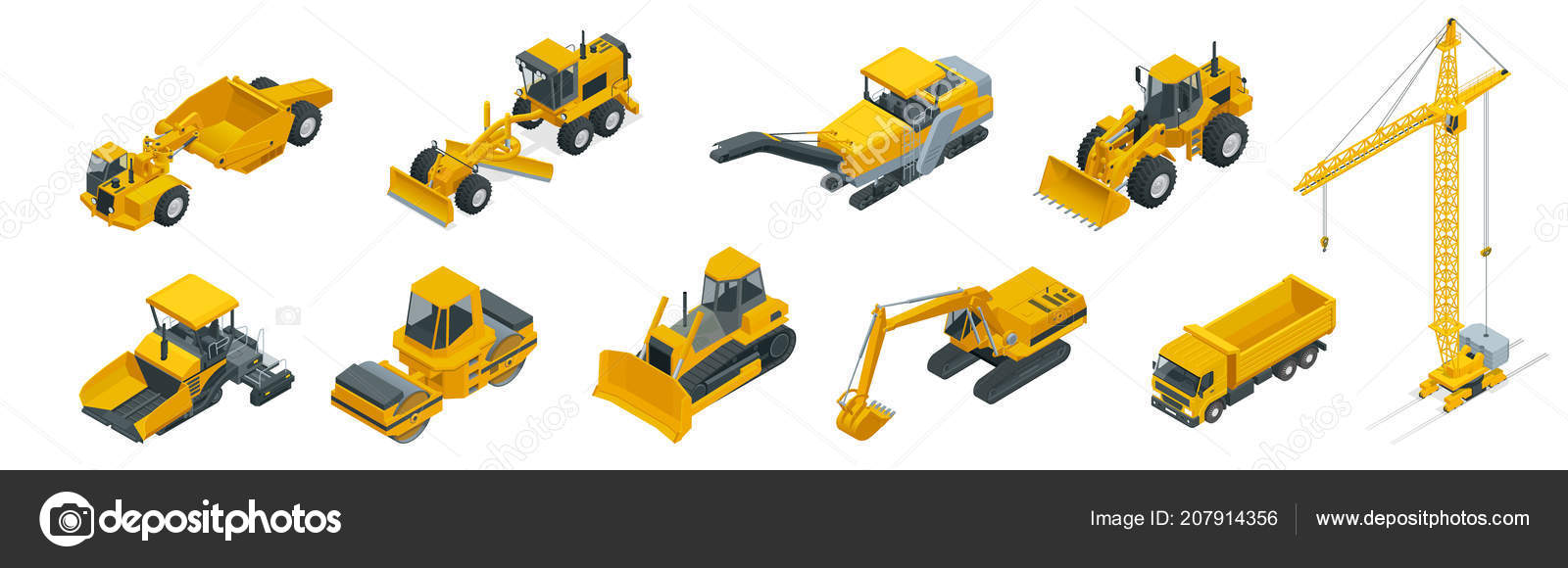 Isometric Icons Set Of Construction Equipment And Machinery With