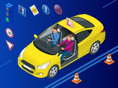 Isometric driving school concept. Driving instructor and man student in examination car. Vector illustration
