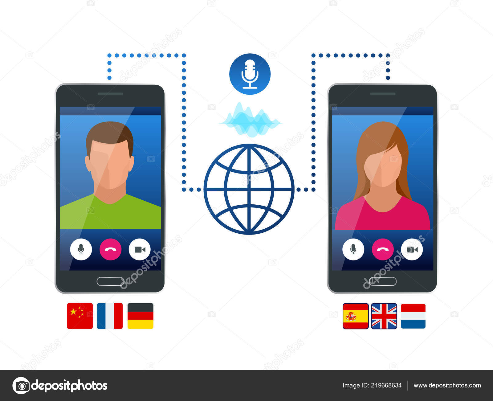 Online voice translator and learning languages concept  E
