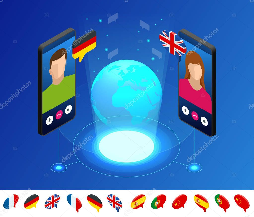 ✅ Isometric online voice translator and learning languages concept. Learning, translate languages or audio guide. Artificial Intelligence chatbot translator premium vector in Adobe Illustrator ai ( .ai ) format, Encapsulated PostScript eps ( .eps ) format