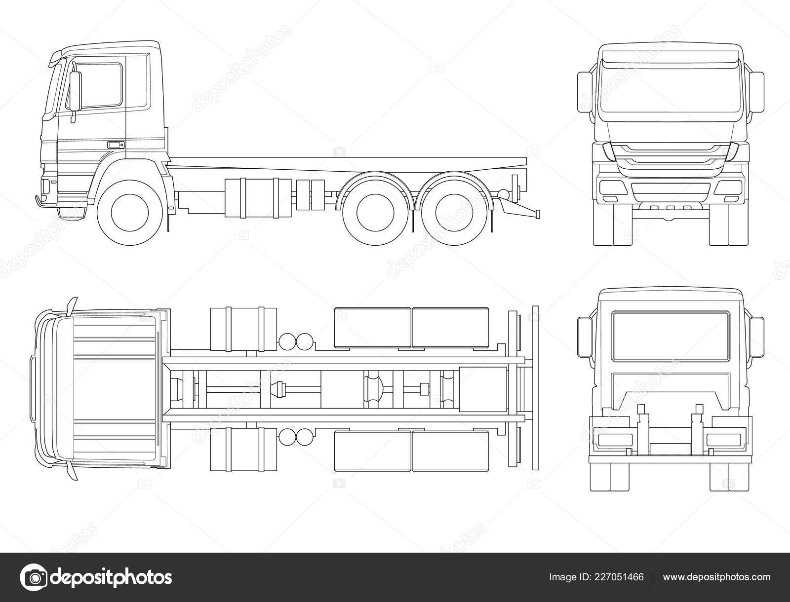 Truck tractor or semi trailer truck in outline combination of a tractor unit and one or more semi trailers to carry freight side front back top view