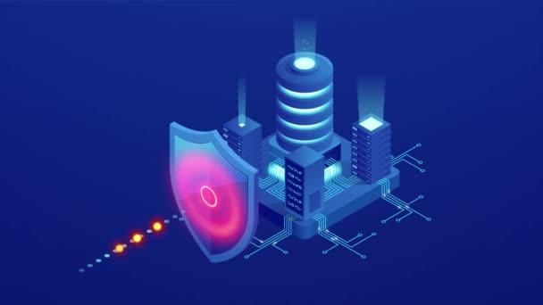 Izometrikus védelem hálózati biztonság és biztonságos az adatok fogalmát. Web oldal tervezősablonok CyberSecurity. Digitális bűnözés egy névtelen hacker. HD-videó.